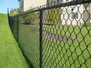 Chainlink fence with grass in the background