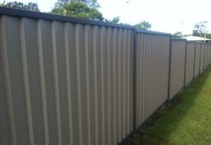 Colorbond fencing next to grass
