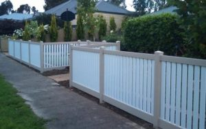 Picket fence on a suburban street